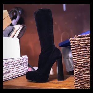 Alexander Wang velvet platform boots